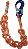 At Height 4221104CA 10' Hi-Vee Braided Safety Blue Single Positioning Lanyard with Aluminum Snap