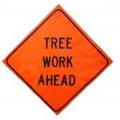 """Peco Sales 58089-KIT 48"""" Tree Work Ahead Orange Mesh Sign with 48"""" Rib System for Mesh Signs"""