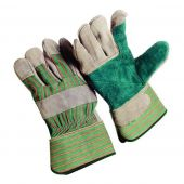 12 Pair - Double Leather Palm Knuckle Strap Gloves - Large