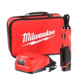 M12 12-Volt Lithium-Ion Cordless 3/8 in. Ratchet Kit W/(1) 1.5Ah Battery, Charger & Tool Bag