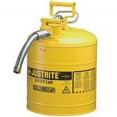 Justrite Manufacturing 7250230 Type II Yellow Steel 5 Gallon Gas Can