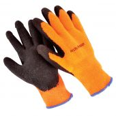 12 Pair - Fleece Lined String Knit Gloves - Large