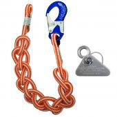 12' Hi-Vee Braided Safety Blue Single Position Lanyard W/ Micro Adjuster