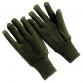 12 Pair - Brown Jersey Knit Wrist Gloves with Dotted Palm - Large
