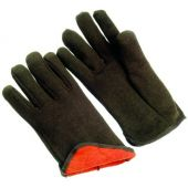 12 pair - Brown Jersey Gloves w/ Fleece Lining - Large