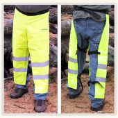 "Safety Green Wrap Around Style Chainsaw Chaps, (35""-42 1/2"") Adjustable Length and Adjustable Waist"