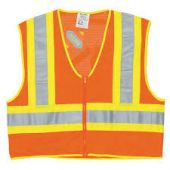 MCRS WCCL2L Class 2 High Visibility Safety Vest with Zipper & Pockets (Orange & Silver Stripes)