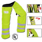 """Safety Green Zipper Style Chainsaw Chaps, 35"""" Length Adjustable Waist (26""""-46"""")"""
