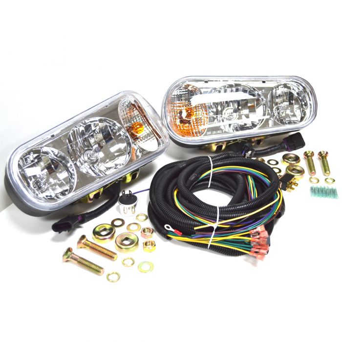 Universal Halogen Snow Plow Light Kit with Double Post Harness Head on