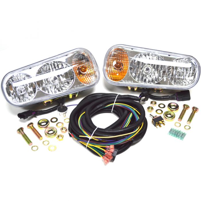 Universal Halogen Snow Plow Light Kit with Double Post Harness Head on plow wheels, meyer plow harness, plow wiring accessories,