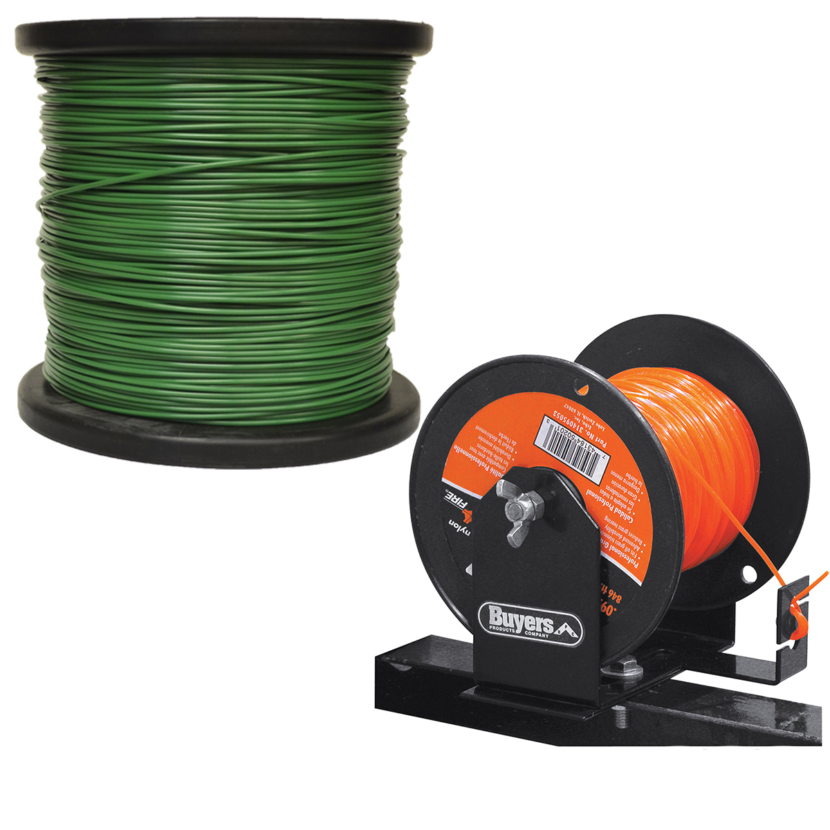 5lb 095 Round Green Commercial String Trimmer Line Spool Roll w/ Spool Holder