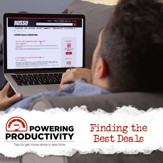 man looking on RussoPower.com for deals on service, parts, and equipment