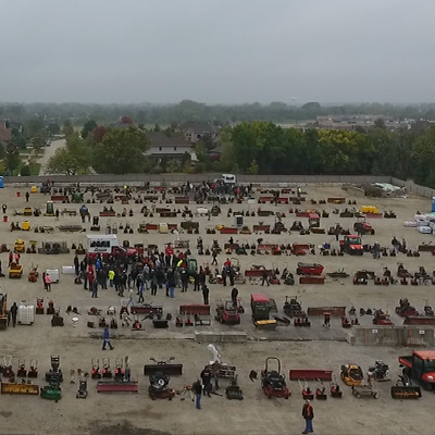 Overhead view of the auction