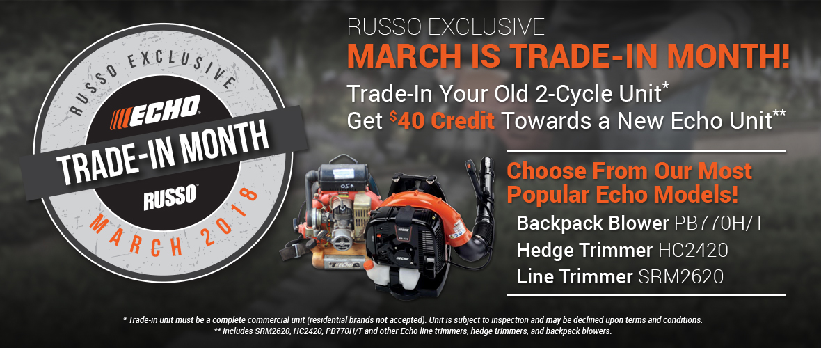 Trade-in your old 2-cycle equipment for $40 credit towards any new Echo unit