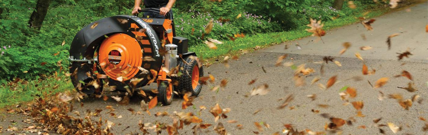 Scag Windstorm, stand-on leaf blower, cleaning up leaves